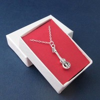 Sterling Silver Bass Guitar Charm With Chain Necklace Music Jewelry