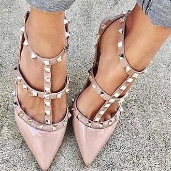 Valentino Trending Women Pointed Rivet Sandals Shoes High Heels Pink