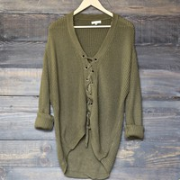 moss lace up grommet knit sweater