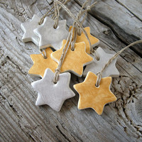 Christmas stars, gift tags in gold and silver, holiday ornaments, Christmas decor from clay, set of 8