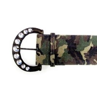 """Amazon.com: 3 1/2"""" Women's Fashion Brass Buckle on Wide Camo Print Belt Strap for Ladies (Assembled in USA) (Small-Medium): Clothing"""