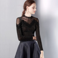 Long Sleeves Crew Neckline Lace Up Mesh Detailing Top