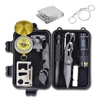 10 In 1 Emergency Survival Gear Professional First Aid Kit Outdoor Camping Hiking Survival Tools Self-help Tactical SOS Box Kit