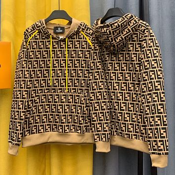 Fendi letter over printed jacquard male couple hooded Pullover loose long sleeve fashion sweater