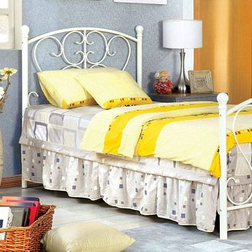 Princess Design Twin Size Metal Bed, White By Casagear Home