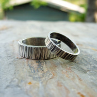 Matching Tree Bark Wedding Band Set in Antiqued Wood Grained Sterling Silver