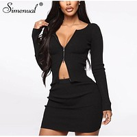 Simenual Zipper Ribbed Fashion 2 Piece Set Women Solid Casual 2020 Spring Bodycon Outfits Long Sleeve Top And Skirt Co-ord Sets