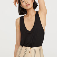 V-neck Jersey Top - Black - Ladies | H&M US