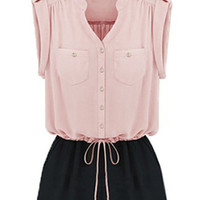 Pink Button Up Drawstring Romper