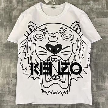 KENZO New fashion tiger print embroidery letter women couple top t-shirt White
