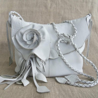 White leather handbag messenger with rose flowers and leaf fringe by Tuscada. Made to order.