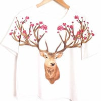 White Short Sleeve Deer Print Cropped Graphic T-Shirt