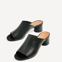 BACKLESS LEATHER SANDALS