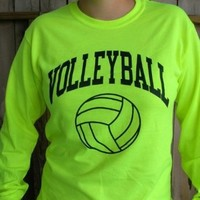 Neon Volleyball Long Sleeve T-shirt (Color/Size=Yellow-Large): Sports & Outdoors