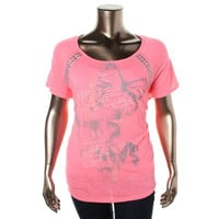 Style & Co. Womens Plus Studded Graphic Casual Top