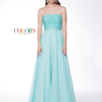 Colors 1717 Strapless Woven Bust Prom Evening Dress