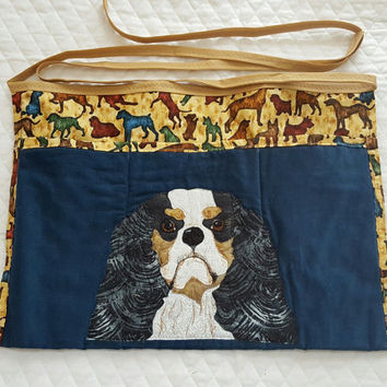 Regal Cavalier King Charles Spaniels Dog Apron for Dog Agility, Dog Obedience, Gardening Apron - Appliqued Quilted in blue and brown