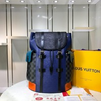 HCXX L024 Louis Vuitton LV Kim Jones Christopher Travel Packback 41-48-13cm Blue