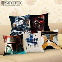 Trendy Fashion Movies Star Wars Pattern Cushion Cover inches Cotton Linen Waist Pillowcase Chair Square Pillow Cover 43x43cm