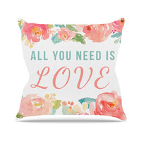 All You Need Is Love Beatles Fiancee Coral Teal Wedding Bride Future Mrs Wife Fashion Home Decor Throw Pillows