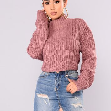 Avelina Long Sleeve Sweater - Mauve