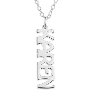 VERTICAL NAME PENDENT - STERLING SILVER