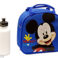 Walt Disney Mickey Mouse Blue Lunch Bag with Water Bottle & Strap-New withTags!