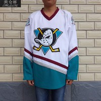 Mighty Ducks D3 Movie Jerseys Blank No Name No Number 0003 White Purple Green
