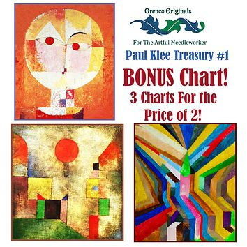 Paul Klee Modern Art Deluxe Treasury #1 -Three Counted Cross Stitch Patterns