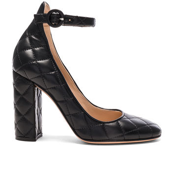 Gianvito Rossi Quilted Leather Heels in Black | FWRD