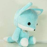 Cute Bellzi Stuffed Animal Teal w/ White Contrast Fox Plushie Doll - Foxxi