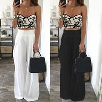 2016 New Women Wide Leg Pants High Waist Dance Party Pants Pantalones Mujer Casual Trousers Loose Long Chiffon Harem Pants