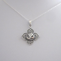 Filigree OHM OM AUM Buddha Lotus sterling silver pendant necklace, Buddhist, yoga necklace