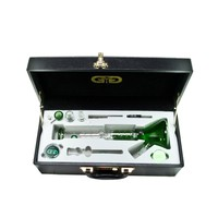 Grace Glass - Beaker Vapor Ice Bong with Spiral perc - Complete Set in Case - Green