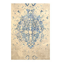 Blue Traditional Distressed Bohemian Moderno Medallion Rug