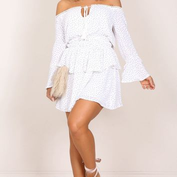 Beautiful Dreams dress in white print Produced By SHOWPO