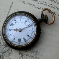 French antique pocket watch Woman watch mecanical watch black metal gold watch face