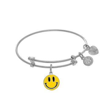 Smiley Face Enamel Charm Expandable Tween Bangle Bracelet