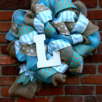 Nursery Wreath Baby Monogram Wreath Burlap Nursery Wreath Baby Gift Nursery Decor Baby Boy Baby Girl Turqoise Baby Wreath Burlap Mesh Wreath