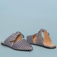 Fiona Bow Pointy Black and White Toe Mules - Gingham