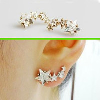 Star Shower Curved Earrings (Only 1 Piercing Needed)
