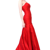 Classic Red Strapless Mermaid Gown With Long Train
