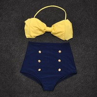Women's Vintage Retro Pin Up High Waisted Bikini Bow Top +Bottom Swimsuit Blue Yellow