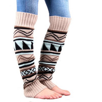 Bohemia Geometric Knitted  Long Socks Cuff for Boot