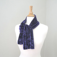 Purple Velvet Scarf, Hand Knit, Luxury Scarf, Short Scarf, Gift For Her, Wife Mom Girlfriend Sister