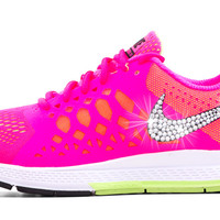 Nike Air Zoom Pegasus 31 - Blinged Out Swarovski Crystal Swoosh - Pink