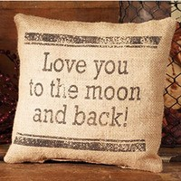 Love You to the Moon and Back - French Flea Market Burlap Accent Throw Pillow - 8-in x 8-in