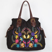 Embroidered Shoulder Bag Black One Size For Women 23275310001