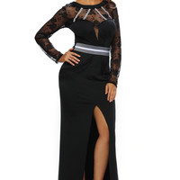sexy night Cocktail Formal Party homecoming soiree Gown for women club Black Sheer Lace Long Sleeve Front Slit Long Dress 61352