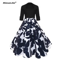 Himanjie Vintage Dresses 50s 60s Rockabilly Elegant Women Retro Dress Big Swing Half Sleeve Audrey Hepburn Floral Print Dresses